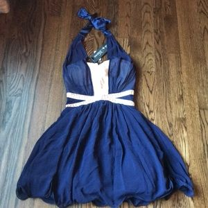 Navy and cream halter neck dress